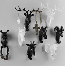 Creative deer head animal decorative hook coat hook retro clothes hanging three-dimensional porch key point bar 6PC/SET B698