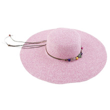 Summer Beach Women Wide Brim Straw Sun Hat Casual National Style Rose red/Beige Lanyard Sunscreen Beach Sun Hats Cap For Ladies(China)