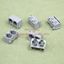 (100pcs/lot) RJ11 6P4C 2 in 1 Grey Modular Jack Network Telephone Socket 4 Pin 90 Degree Needle Welded Type with side