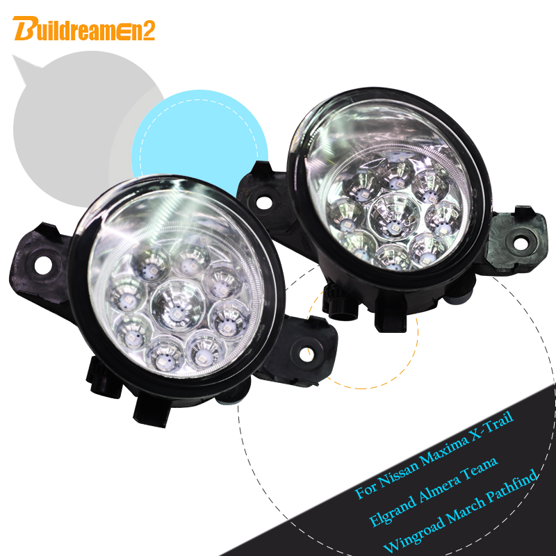 Buildreamen2 For Nissan Wingroad March Pathfind Maxima X-Trail Elgrand Almera Teana Car LED Fog Light Daytime Running Light DRL<br>