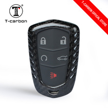 T-CARBON Carbon Fiber Smart Key Cover Case Skin Shell for  Cadillac