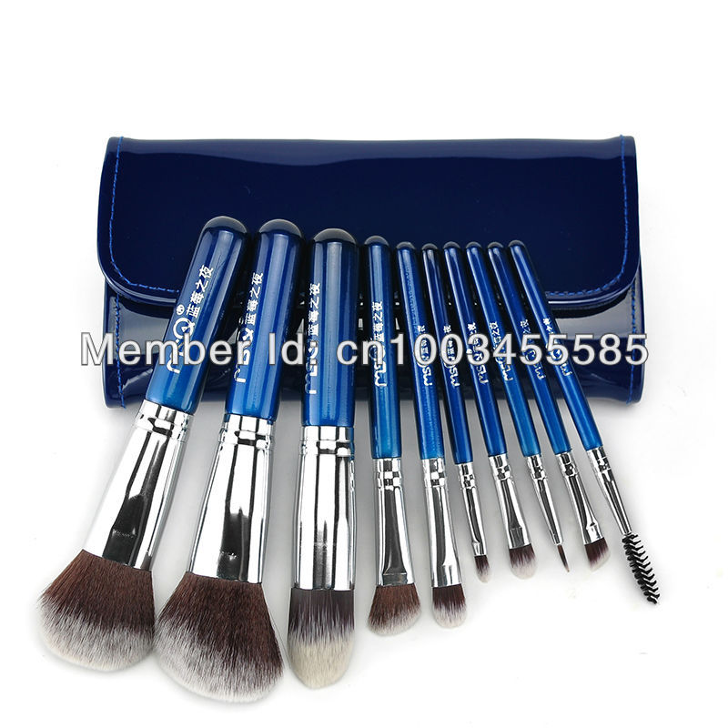 FREE SHIPPING! Best Quality Synthic Hair Professional Makeup Brush Set 10PCS/Set Including a Pu Leather Bag!<br>