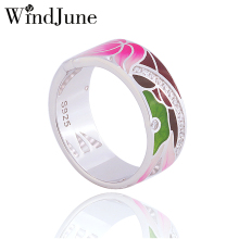 WindJune Boho Enamel Engagement Rings For Women 925 Sterling Silver Ring Wedding Party Fine Jewelry Anillos De Plata 925(China)