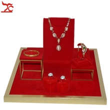 Stainless Steel Jewelry Display Counter Showcase Red Velvet Double Ring Bracelet Pendant Holder Wooden Necklace Display Stand