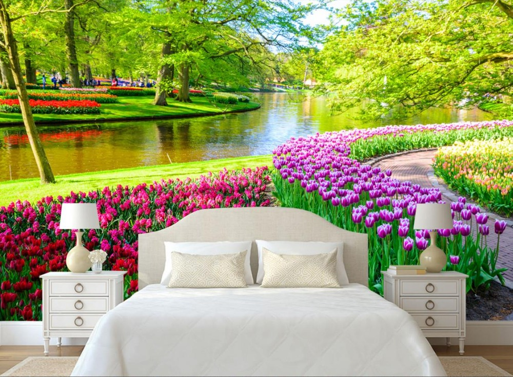 Custom 3d wallpapers for wall Nature Landscape Trees Tree Tulips photo 3d wall mural wallpapers for living room modern<br>