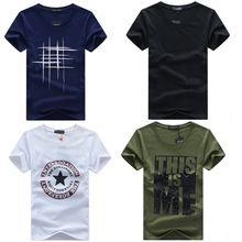 Men T Shirt Solid Color and Print T-shirt Simple Male Casual Tshirt short sleeve O neck Asian size S to 5XL(China)