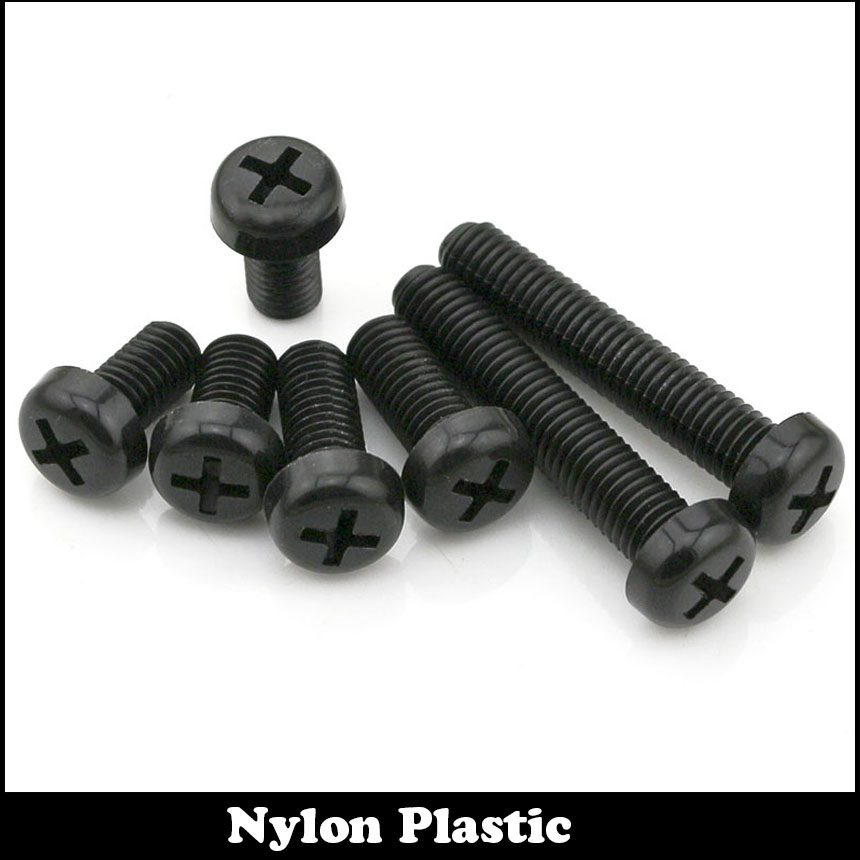 30pcs M6 M6*16 Black Bolt Nylong Plastic Cross Recessed Round Pan Head Screw<br><br>Aliexpress