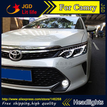 Free shipping ! Car styling LED HID Rio LED headlights Head Lamp case for Toyota Camry V55 2015 Bi-Xenon Lens low beam
