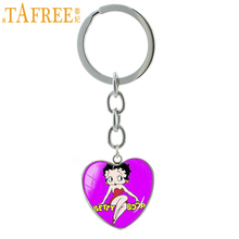 TAFREE Harajuku cute cartoon Betty Boop picture keychain fashion heart pendant key chain ring jewelry for women girls kids HP473(China)