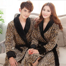 Leopard Print Flannel Lovers Bathrobes Robe Male Women Night Gown Thicken Coral Fleece Pajamas Sleepwear Lounge Kimono Feminino(China)