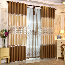 Ready made Window European Luxury Embroidered Voile Curtain Sheer Curtain purple/blue/brown/Tulle Window Curtains for LivingRoom(China)