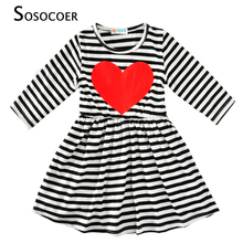 SOSOCOER Girls Summer Dress 2017 New Fashion Stripe Princess Dress Girl Party Cute Red Heart Kids Dresses For Girls Baby Clothes