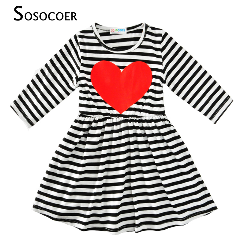 SOSOCOER Girls Summer Dress 2017 New Fashion Stripe Princess Dress Girl Party Cute Red Heart Kids Dresses For Girls Baby Clothes(China (Mainland))