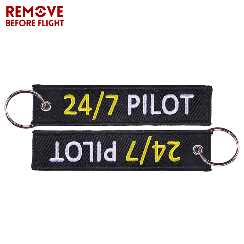 Fashion Key Chain Jewelry Outstanding Embroidery 247 Pilot Key Ring Chain for Aviation Lovers Gifts Luggage Tag Label Keychains (5)