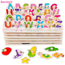 [Bainily] Baby Kids Wooden Cartoon Animals Grab Peg Knob Puzzles Toy Force Children Jigsaw Puzzle Education Learning Tools(China)