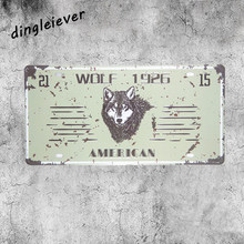 Wolf 1926 America License plate vintage tin sign crosses wall decor bar art wall sticker(China)