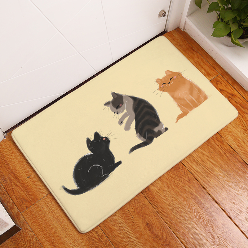 Cartoon Flannel Carpet Cats Printing Mat For Living Room 40x60cm 50X80cm  Door Mat Rectangle Tapete