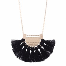 LZHLQ Long Tassel Necklace For Women Maxi Statement Fashion Jewelry Cute Lovely Necklace Black Red White Necklace Boho Necklace(China)
