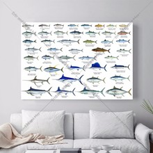 Introduction Of Marine Fish Canvas Art Print Painting Poster Wall Picture For Living Room Home Decorative Bedroom Decor No Frame