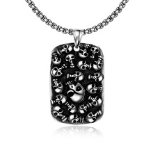 Man Boys Punk Mexican Tattoo Stainless Steel Skull Pendants Statement Biker Necklace Charm Men Fashion Fine Jewelry Accessories