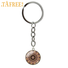 TAFREE Yoga Mandala Buddhism Key Chain charming fashion Keychain 2017 men women Stock Vector round glass novelty jewelry H275