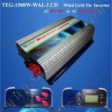 1.5kw grid tie inverter wind 45-90v ac to ac 220v 230v 240v with lcd and dump load