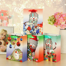Christmas Paper Gift Bags With Glitter Lamination Ribbon Handle Drink Juice Wine Gift Holder Xmas Snowman with Scarf Glove