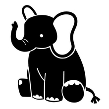 Cute Baby Elephant Fashion Car Sticker motorcycle SUV Bumper Laptop Car Styling Vinyl Decal(China)