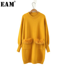 [EAM]2018 Spring New Fashion Solid Color Thick Long Type Double Pockets Long Sleeve O-neck Sweater Knitting Tops Women YC086(China)