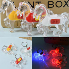 New Hot 2016 1 PC LED Light Key Chain Keyring Super Bright Horse Shaped Random Color Sent Free Shipping