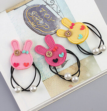 Free Shipping children lovely gum cartoon Bunny hari bands baby girl cute hairbands gum(China)