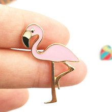 Timlee X147 Cartoon Cute Pink Flamingo Bird Design Metal Brooch Pins Wholesale