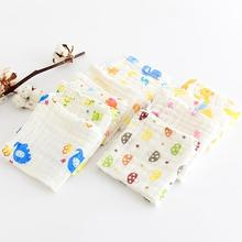 30cm30cm 2017 new arrive six layers gauze washing towe printing handkerchief baby newborn cartoon towel QD14