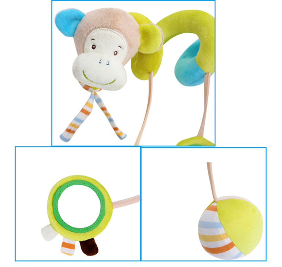 Infant baby toy activity spiral bed stroller bumper with BB device hanging crib rattle kids toys newborn juguete bebe animales 7