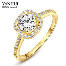 YANHUI Fashion Jewelry Real 24K Gold Filled Engagement Ring Luxury 1 Carat Round CZ Diamant Zircon Wedding Rings For Women YR038(China)