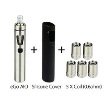 Electronic Cig Joyetech eGo AIO 1500mAh All In one Kit 2ml 0.6ohm Vaporizer w/ AIO Silicone Case Cover for ego aio 100% Original