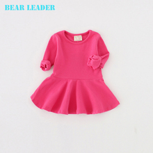 Bear Leader 2016 New Spring Casual Style Pure cotton falbala long-sleeved dress Baby candy color Lovely princess dress(China)