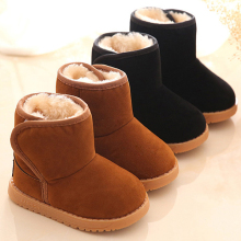 2016 Winter Children Boots Thick Warm Shoes Cotton-Padded Suede Magic Hook Boys Girls Boots Boys Snow Boots Kids Shoes(China)