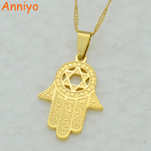 Anniyo Hexagram/Hamsa Hand Pendant Necklace,Magen David Necklace Gold Color Jewelry Islam Arab,Jewish Star,Palm Shaped #006721