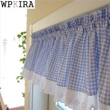 Blue Small Plaid Curtains With Lace Cafe Curtains Kitchen Short Curtain Semi-shade Small Short Curtain Fashion &40