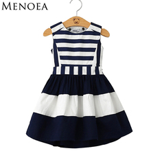 Menoea 2017 Summer Dress Baby clothing Military Style Brand Girls Dress Girls Navy Wind Backless Stripe Splicing Sundress Dress