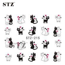STZ 1 Sheets 2017 Lovely Red Heart Cute Cat Pattern Nail Art Water Transfer Wraps DIY Sticker Styling Tools STZ215/230