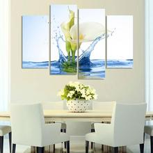 Modern Flower In Water Canvas Painting 4 Pieces Flower Wall Art Modular Wall Pictures Hanging On Wall Decor For Living Room(China)