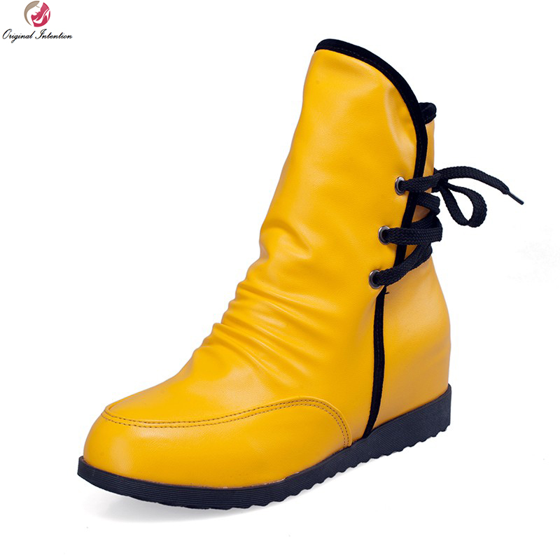 Original Intention Fashion Women Ankle Boots Popular Round Toe Wedges Boots Black White Yellow Red Shoes Woman US Size 4-10.5<br>