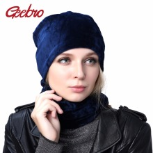 Geebro Brand 2017 Women's Hat Skullies Beanies Polyester Knitted Hats Winter Warm Velvet Neck Scarf and Beanies Hats For Women(China)