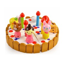 Mini strawberry cake wooden toys baby play house(China)