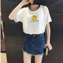 Summer New Harajuku Short Sleeve White T shirt Women Cute Sunflower Ice-cream Smiley Printed Loose S-XL Girls Top Female T-shirt