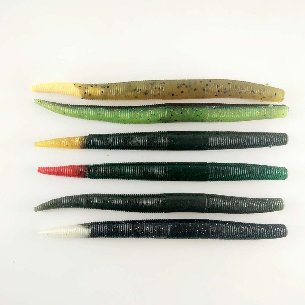 "5/"" Stick Senko Style Hematoma Swirl with Red Fleck 100 count bag bulk Bass Worms"
