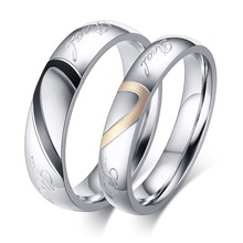 Sale New Never Fade Size 4-15 Fashion Titanium Steel Silver Color Real Love Jewelry Engravable Women & Men Wedding Couple Rings(China)