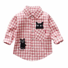2018 Toddler Kids Baby Boy Girls Camo Floral Plaid Tops Shirt Long Sleeve Turn-down Collar Cotton Shirt Clothes Outfits(China)